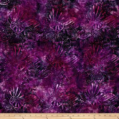 Wilmington Batiks Large Floral Purple/Navy