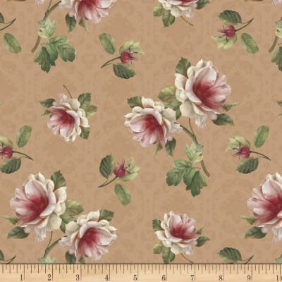 Romantic Afternoon Flannel  Small Floral Tan