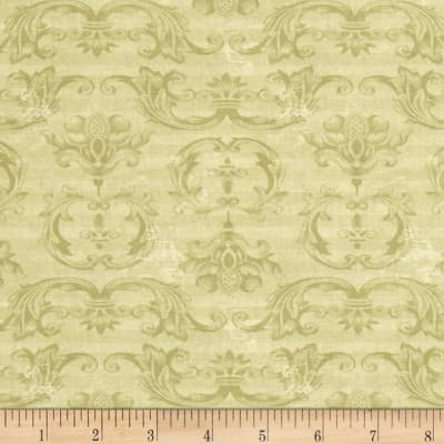 From The Chateau Striped Damask Green