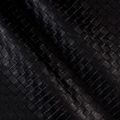 Faux Leather Tile Basketweave Black
