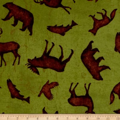 Wilderness Flannel Toss Animals Olive