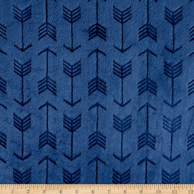 Shannon Minky Cuddle Embossed Arrow  Navy