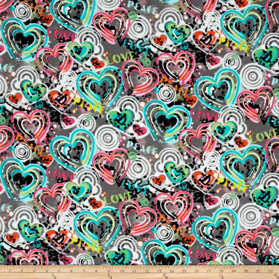 Kanvas Cool Girl Graffiti Hearts Gray
