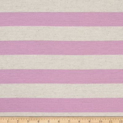 Polyester Jersey Knit Stripe Orchid Oatmeal