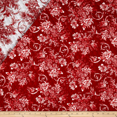 Sophisticates Double Sided Quilted  Monochromatic Floral Red/Wht