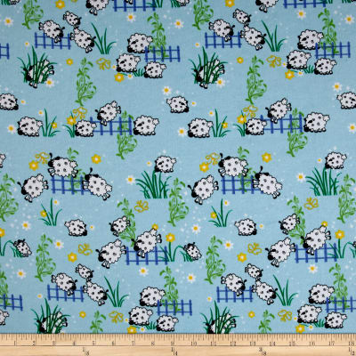 Flannel Sheep Over Fence Blue