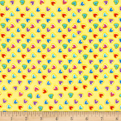 Flannel Heart Buttons Yellow