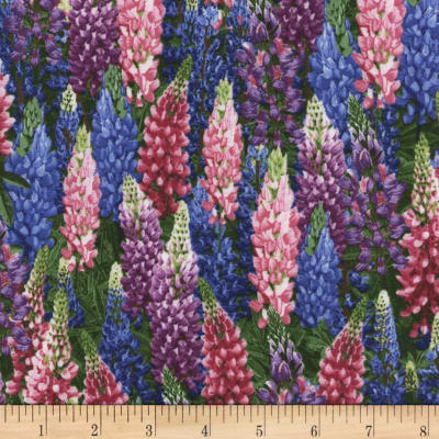 Timeless Treasures Botanical Trail Lupine Flowers Lupine