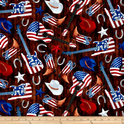 Timeless Treasures Born In The USA Guitars And Cowboy Hats Print Fabric