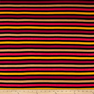 Rayon Jersey Knit Thin Multicolored Stripes Pink/Brown