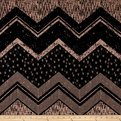 Rayon Jersey Knit Oversized Chevron and Miniature Arrows Black/Cr?me