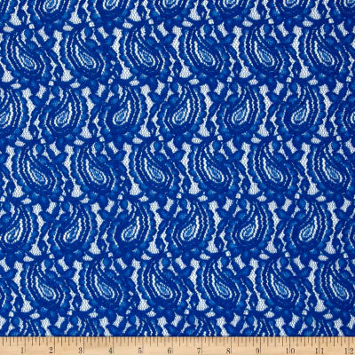 Stretch Lace Paisley Royal Blue