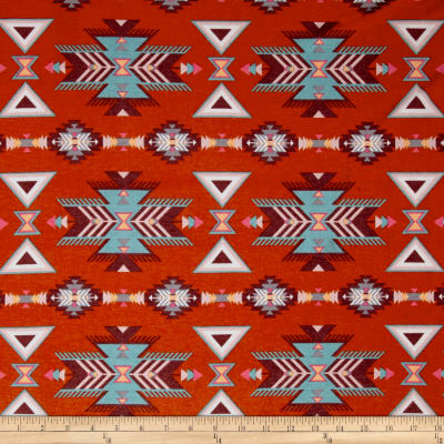 Stretch Poly Spandex Jersey Knit Tribal Triangles Tangerine/Teal