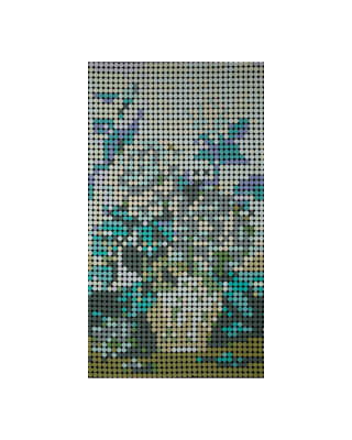 """Moda Meow or Never Dottie Floral 24"""" Panel Blue Green"""
