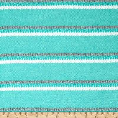 Lightweight Sweater Knit Pointelle Stripe Mint