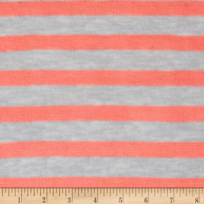Lightweight Sweater Knit Small Coral Stripes on Gray
