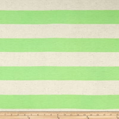 Jersey Knit Large Stripe Neon Green on Ivory
