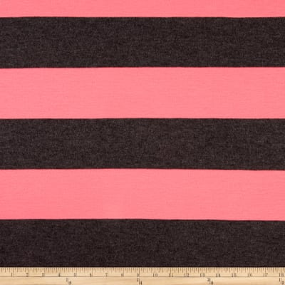 Jersey Knit Large Gray and Pink Stripe