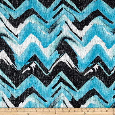 Sweater Knit Abstract Chevron Turquoise/Black