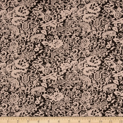 Double Knit Jacquard Paisley Beige on Black