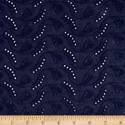 Cotton Eyelet Whimsical  Leaves Navy