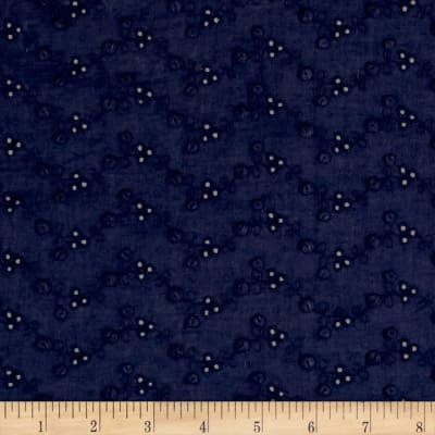Cotton Eyelet Dotted Navy