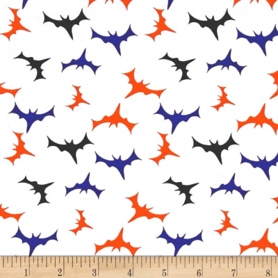 Fabric Merchants Cotton Spandex Jersey Knit Bats In The Night Halloween White Multi