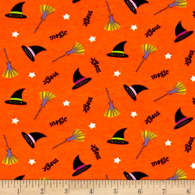 Fabric Merchants Cotton Spandex Jersey Knit Magic Brewing Halloween Grey Multi