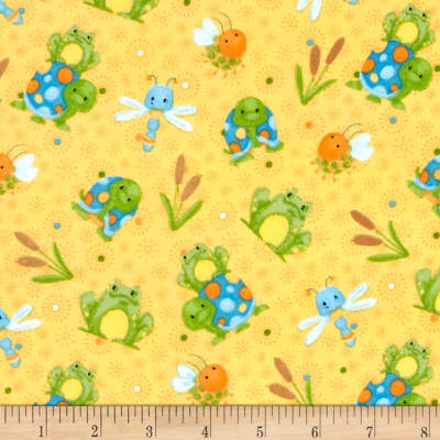 Bugs Flannel Frogs And Turtles Yellow