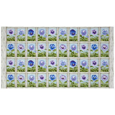 "Pretty As A Pansy Window Box 23.5"" Panel White/Light Blue"