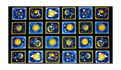 "Starlight Metallic Celestial Boxes 23.5"" Panel Black"