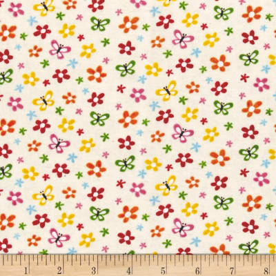 Alpine Flannel Buzzy Floral Cream