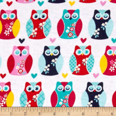 Alpine Flannel Owls And Hearts Multi