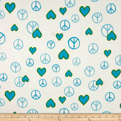 Cotton Lycra Jersey Knit Peace and Love Ivory Blue Green
