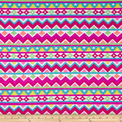 T-Shirt Jersey Knit Aztec with Hearts Multi