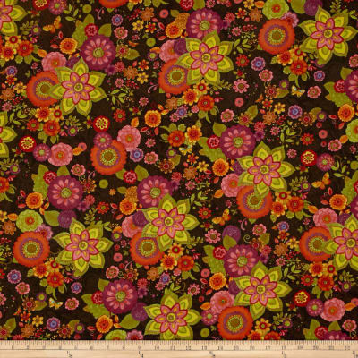 Spice Garden Large Tossed Floral Brown