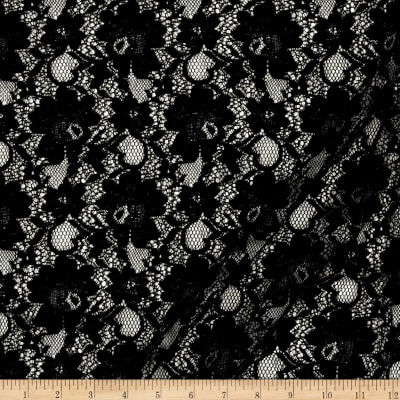 Lace Woven Traditional Floral Black