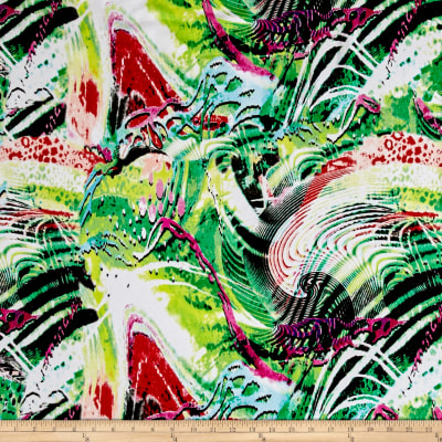 Rayon Digital Challis Belize Tropical Summer Multi