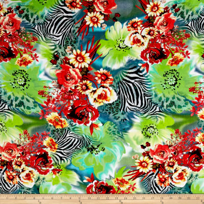 Rayon Digital Challis Hidden Florals in The Jungle Multi