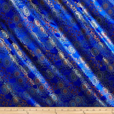 Chinese Brocade Medallions Royal Blue