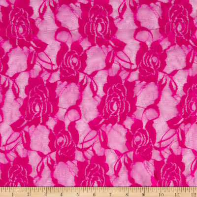 Stretch Lace Floral Fuchsia