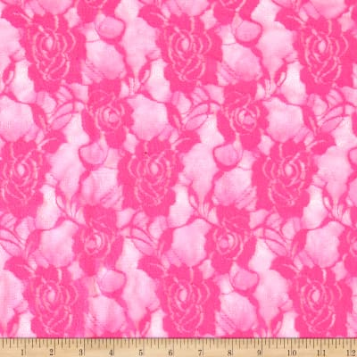 Stretch Lace Floral Summer Hot Pink