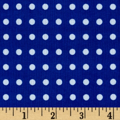 Stretch ITY Jersey Knit Micro Dot Royal and White