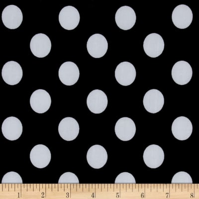 Stretch ITY Jersey Knit Dot Black and White