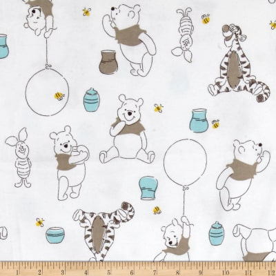Disney Flannel Winnie, Piglet & Tigger White