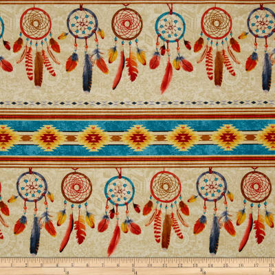 Timeless Treasures Out West Dreamcatcher Stripe Natural