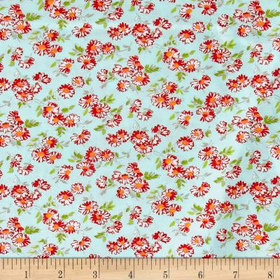 Moda Little Ruby Little Daisy Aqua