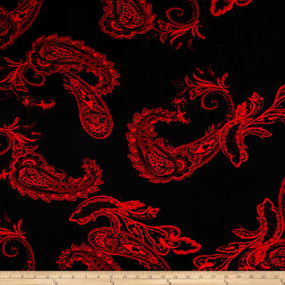 Stretch ITY Knit Paisley Resort Wear Black Red