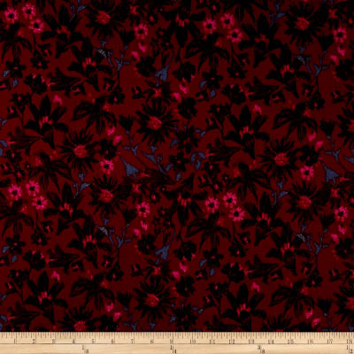 Designer Textured Rayon Voile Floral Fuchsia