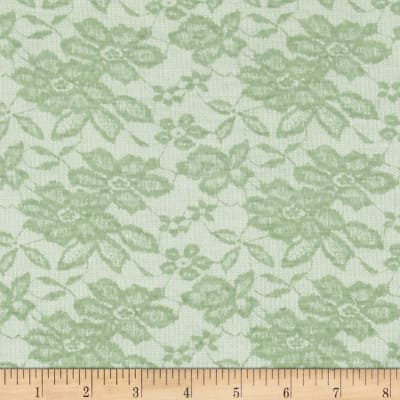 Jersey Knit Lace Lime Daisies on Ivory